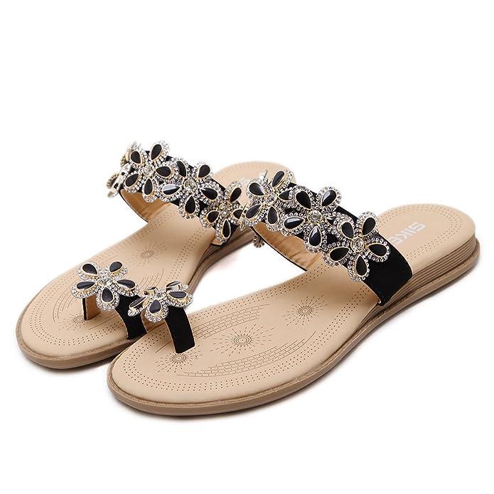 Insun Damen Sommer Schuhe Böhmen Blumen Flip Flop Sandalen Hausschuhe Strass Clip Toe Sandalen Schwarz 39 dNGyCYs9