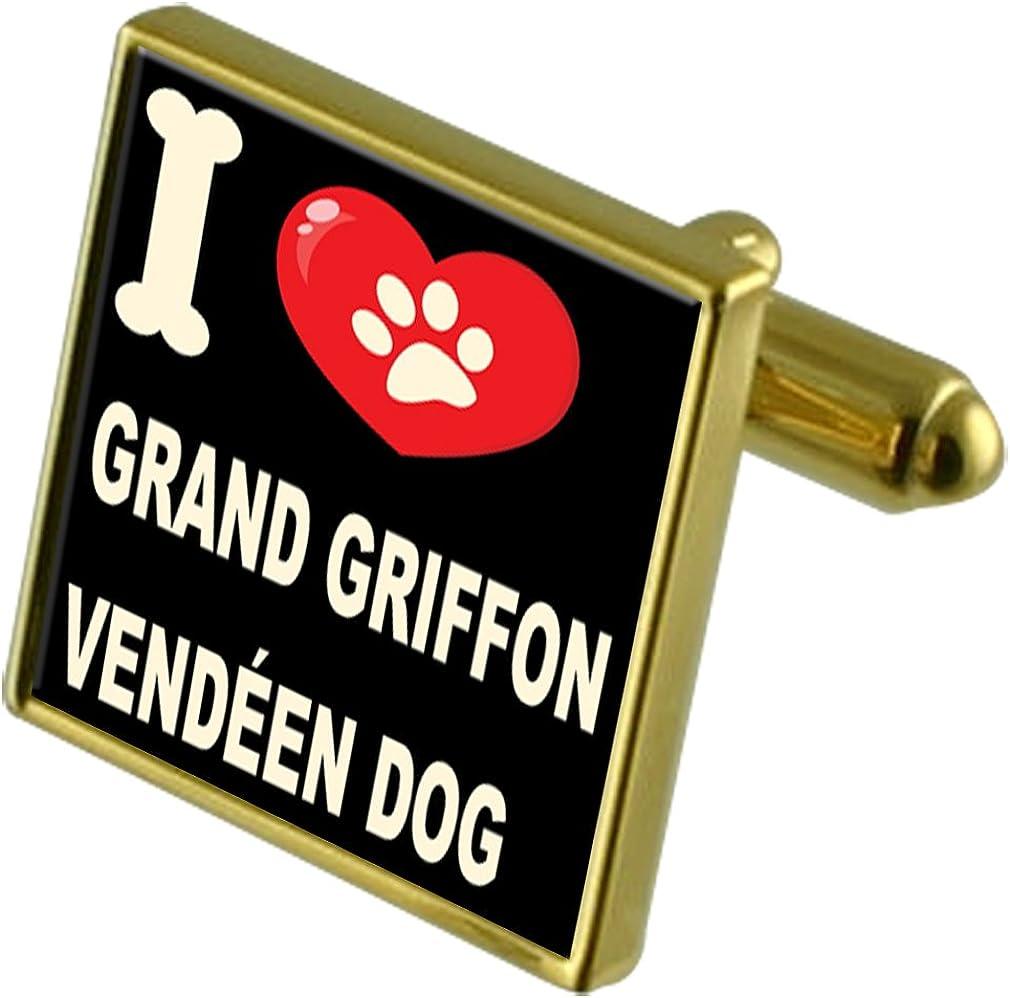 Grand Griffon Vend/éen Select Gifts I Love My Dog Gold-Tone Cufflinks /& Money Clip