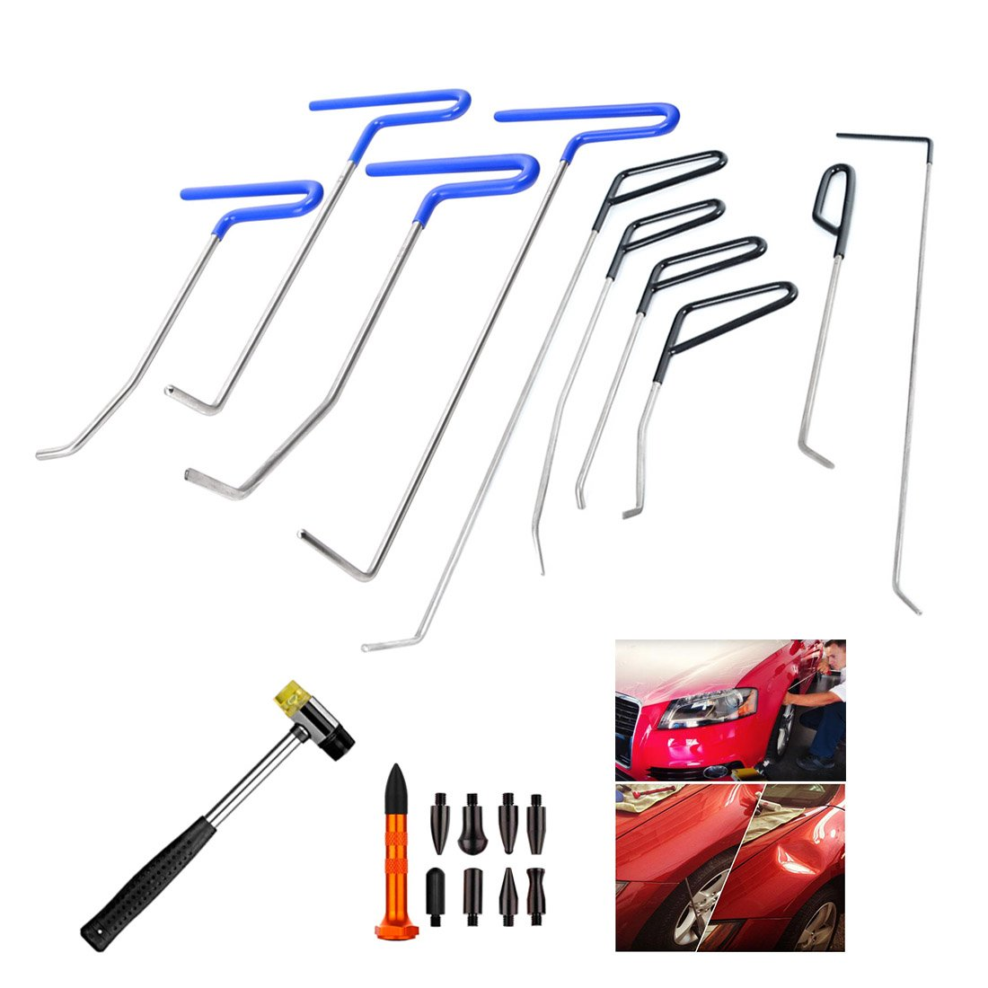 WHDZ Paintless Dent Repair Rods Auto Body Dent Removal Tools 10pcs Auto Car Body Paintless Dent Repair Dent Puller Dent Hammer Tap Down