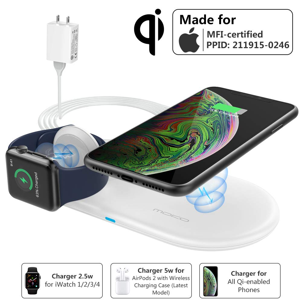 MoKo Wireless iPhone Apple Watch Charger Stand, [Mfi Certified] 2 in 1 Dual Qi Fast Wireless Charging Pad Dock Compatible Apple Watch Series 1/2/3/4, AirPods 2, iPhone Xs Max/XR/X (with QC Adapter)
