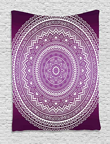 Ambesonne Purple Tapestry, Ombre Mandala Art Print Vibrant Floral Pattern Boho Hippie Inspired Design, Wall Hanging for Bedroom Living Room Dorm Decor, 40
