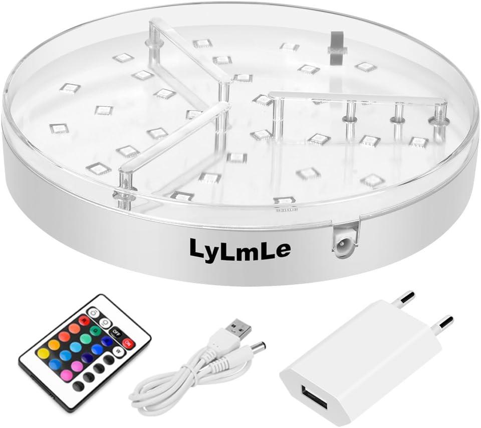 LyLmLe LED Base,RGB Luz Shisha Led para Hookah,Botella de Vino, jarrón, Cubeta de hielo,Cachimba,16 Colores Base iluminada con LED by (20CM)