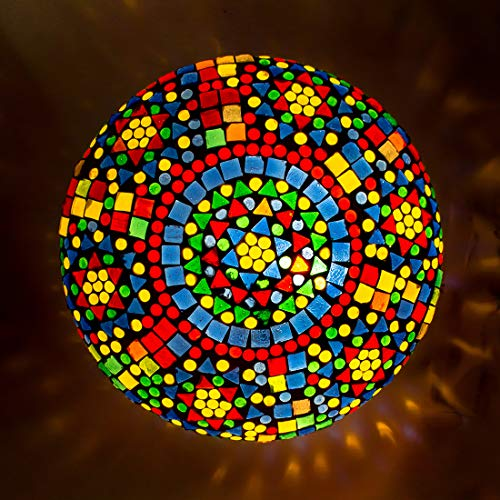 DEVBEADS Round Mosaic Glass Ceiling/Wall Mount Lamp (Multicolor , 24cm , GMLCL303D5 )