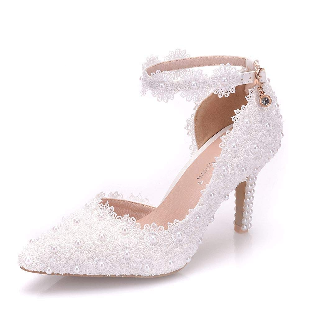 31032ed50bb9c VINEIL Women Ankle Strap High Heels Sandals White Lace Pearls Party Evening  Dress Wedding Shoes Pumps