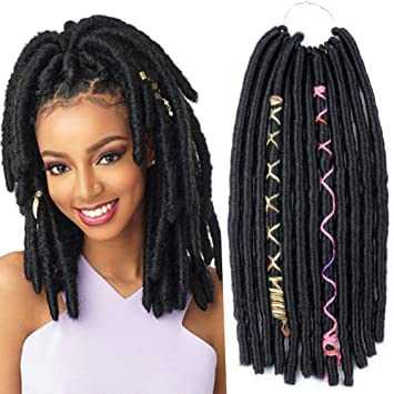 Crochet Goddess Locs Braids Natural Black Synthetic Faux Locs Crochet  Braiding Hair Extensions African...