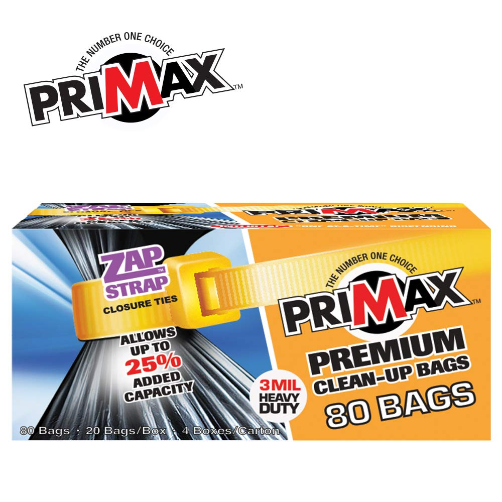 """Value Pack 80 Heavy Duty Premium 42 Gallon Clean-Up Contractor Bags with ZAP-STRAP Ties for Easy Closure and Maximum Capacity   32"""" x 50"""" 3 Mil   80 Trash Bags (4 Boxes of 20) by PRIMAX (Image #4)"""