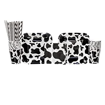 .com: cow print party supplies pack for 16 guests: straws ...