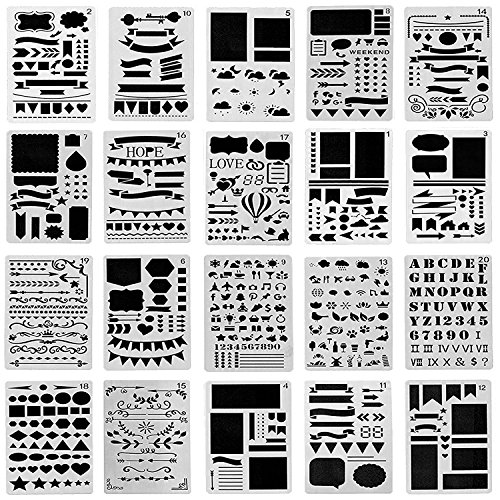 Bullet Journal Stencil 20 Pieces Plastic Planner Stencils For Journal/Notebook/Diary/Scrapbook DIY Drawing Template Stencil 4x7 Inches (Case Townhouse)