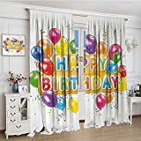 smallbeefly Birthday Room Darkening Wide Curtains The Words Happy Birthday with Vivid Balloons Confetti Rain Blithesome Happy Day Decor Curtains By 72''x84'' Multicolor