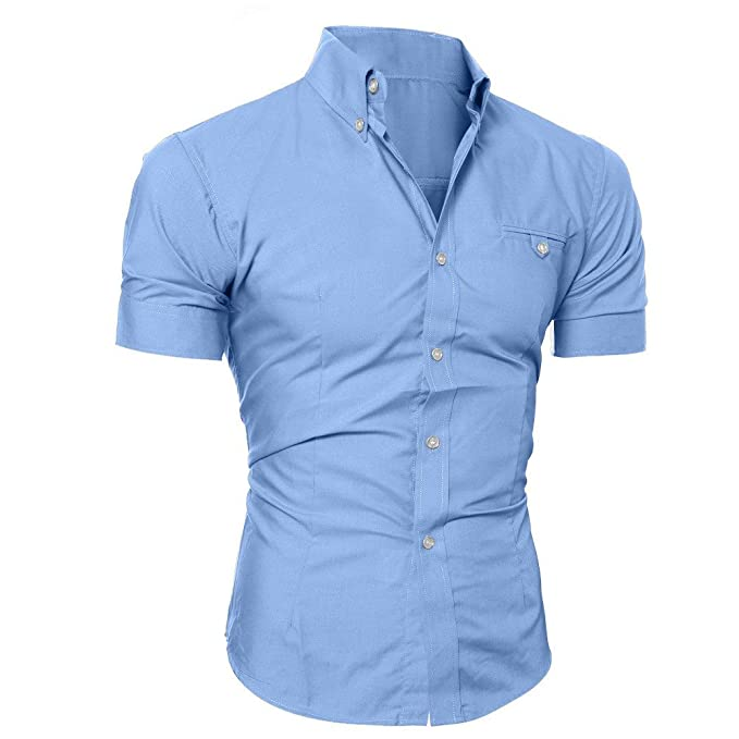 ZODOF Camiseta Hombre, Hombres de la Personalidad de Moda de Manga Larga Remiendo Delgado Camiseta de Manga Corta Blusa: Amazon.es: Ropa y accesorios