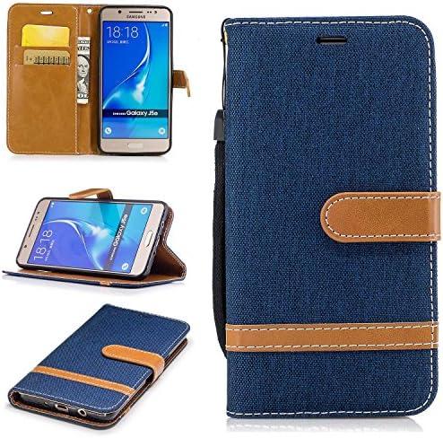 Galaxy J5 2016 ケース, Zeebox® PUレザー ス手帳 財布型カバー, Samsung Galaxy J5 2016 対応 女性向 スマートフォンケース, 耐摩擦 耐衝撃 360°保護 財布型 ケース, スタンド機能 マグネット開閉式, 紺