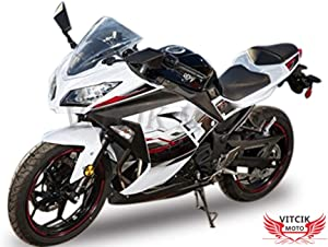 VITCIK (Fairing Kits Fit for Kawasaki EX300R Ninja 300 ZX300R 2013 2014 EX300R ZX300R 13 14) Plastic ABS Injection Mold Complete Motorcycle Body Aftermarket Bodywork Frame (White & Black) A039