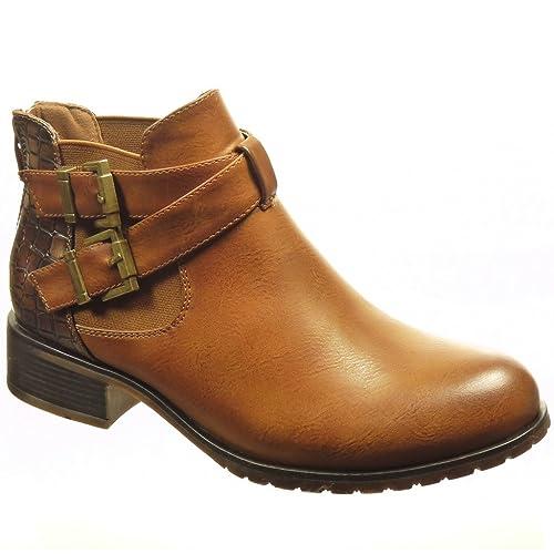 tout neuf 34182 928e6 Angkorly - Chaussure Mode Bottine Chelsea Boots Femme Peau de Serpent  lanière Boucle Talon Bloc 3 CM - Intérieur Fourrée