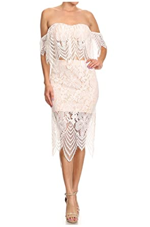 71d5d8d3a52 White Lace 2 Pc Set Off Shoulder Top & Midi Skirt (Small) at Amazon ...