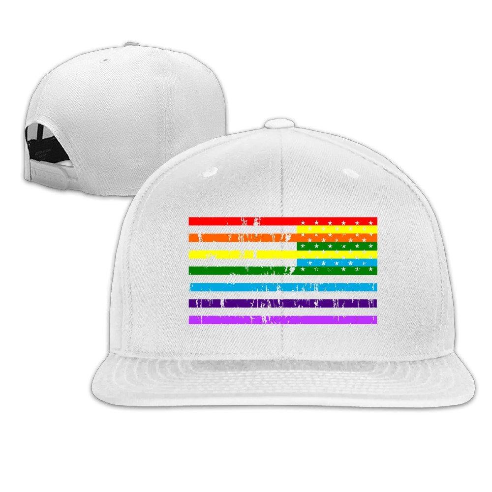 a562637ba438a Rainbow American Flag Gay Lesbian Pride Baseball Cap Sports Hat Apparel