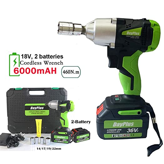 Electric Impact Wrench 18V with 2 X 6.0Ah Li-ion Battery, 1 2 Inch Square Drive w LED Light, High Torque 460Nm, Cordless Impact Gun – Variable Speed w Socket Set Case 2-Battery