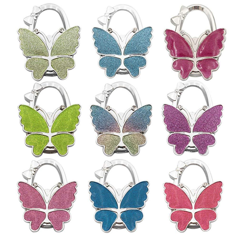 Axmerdal Butterfly Purse Handbag Hook Folding Hanger for Women Gift Foldable Shoulder/Handbag/Backpack Purse Hangers Table Chair Holder Hook (9pcs)