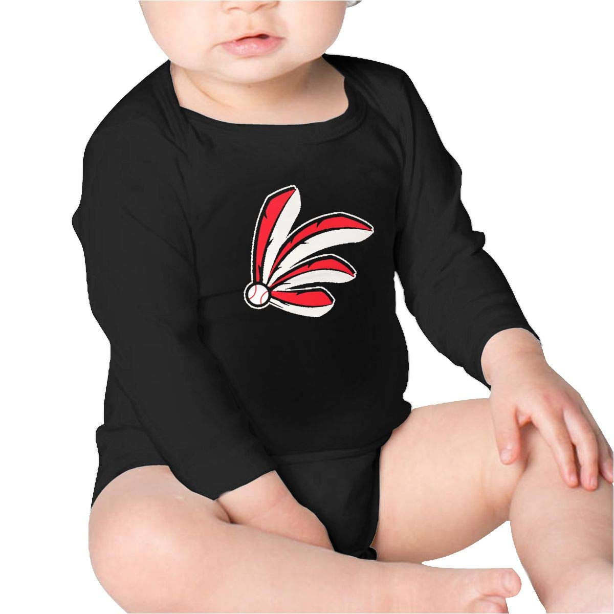 Pikaqiuleilei Baseball Feathers Baby Cotton,Long Sleeve Baby Romper