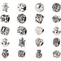 PandaHall – Set met 100 Europese parels, legering, antiek zilver, ca. 7 – 13 mm lang
