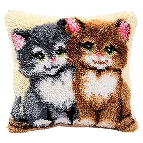 Cat Latch Hook - 13 Model Latch Hook Kits for DIY Throw Pillow Cover Sofa Cushion Cover Owl/Dog/Cat/Bear/Bird with Pattern Printed 16X16 inch BZ741