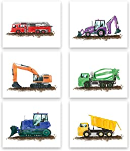 Watercolor Truck Wall Art Print-- Playroom or Nursery Boy Bedroom Decor--Colorful Cartoon Construction Car Canvas Print ( Set of 6 )--Unframed--8X10 inch …