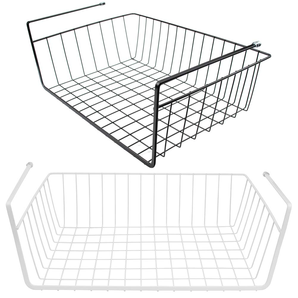 Tebery 2 Pack Under Cabinet Storage Shelf Wire Basket Organizer Fit Dual Hooks for Kitchen Pantry Desk Bookshelf - White & Black by Tebery