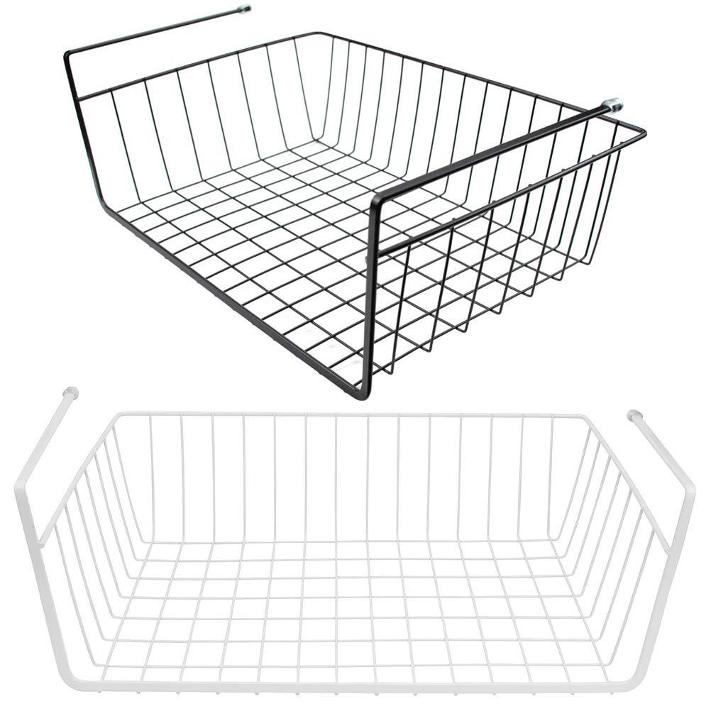 Tebery 2 Pack Under Cabinet Storage Shelf Wire Basket Organizer Fit Dual Hooks for Kitchen Pantry Desk Bookshelf - White & Black by Tebery