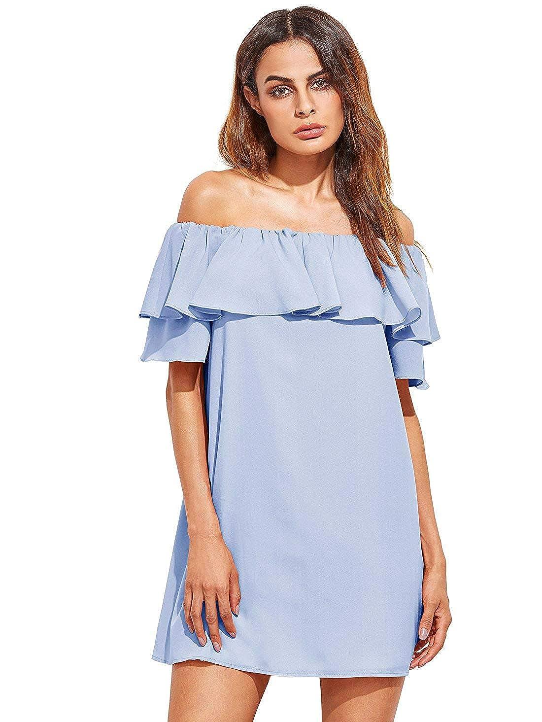 b29b28f6e4 Milumia Women's Off Shoulder Ruffles Shift Loose Mini Dress at Amazon  Women's Clothing store: