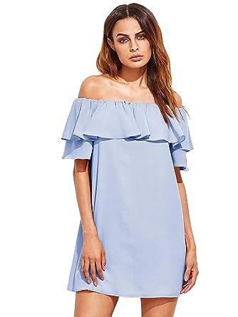 adc53cf85e Milumia Women's Off Shoulder Ruffles Shift Loose Mini Dress X-Small Light  Blue