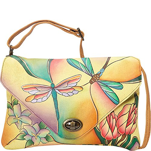 Anuschka Anna by Handpainted Leather Envelope Clutch, Dragonfly Glass Painting