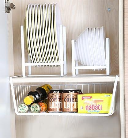 Perfect 7U Under Cabinet Storage Basket, Metal Hanging Wire Shelf Rack Organizer  For Kitchen Cupboard,