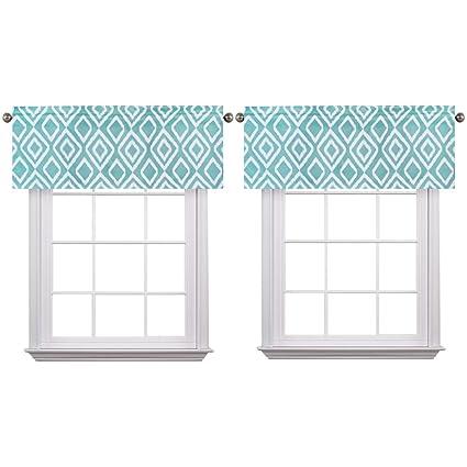 Flamingo P Ikat Fret Teal 2 Pack Valance Curtain For Kitchen Living Dining  Room Bathroom Kids