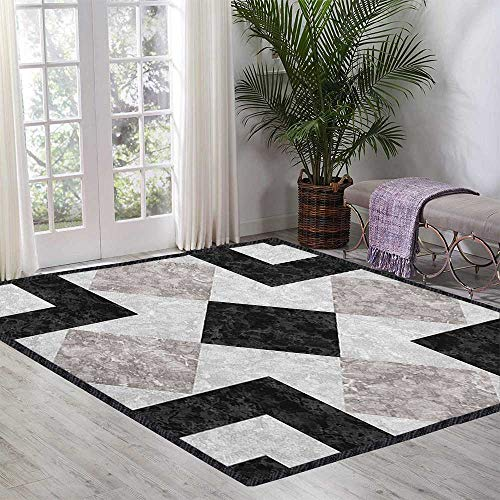 Marble Natural Fiber Area Rug,Nostalgic Marble Stone Mosaic Regular Design with Alluring Elements Artwork Print Stain Resistant & Easy to Clean Black Beige 55