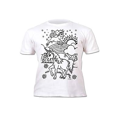 Kinder T Shirt Mädchen Einhorn Zum Bemalen Und Ausmalen Mit
