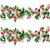 Well Love Artificial Flower Rose Vine Garland 8FT/Piece for Home Kitchen Wedding Party Garden Festival Office Outdoor Hanging Arch DIY Craft Art Decor Champagne Gift Set