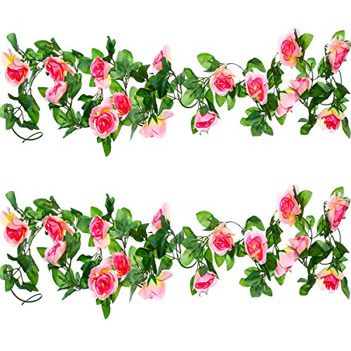 Well Love Artificial Flower Rose Vine Garland 8FT/Piece for Home Kitchen Wedding Party Garden Festival Office Outdoor Hanging Arch DIY Craft Art Decor Champagne Gift Set by Well Love