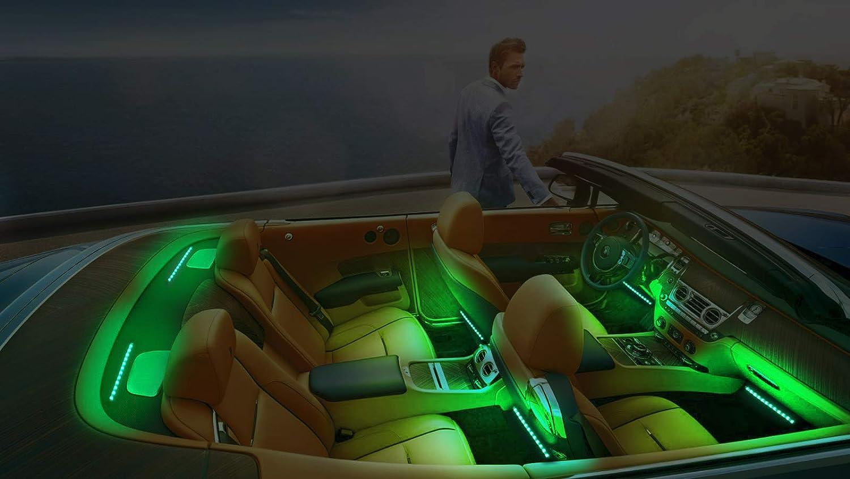 Justech 6stk 12V LED Streifenleuchte Auto Innenleuchten dimmbare Umgebungsbeleuchtung Footwell-Lichter RGB SMD 48 LED Auto Stimmungslicht Wasserdicht mit Drahtloser Musiksteuerung USB Port