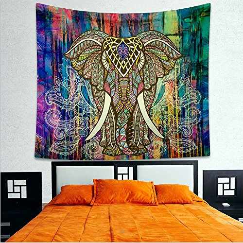 Colorful Hanging (Popular Hippie Mandala Bohemian Psychedelic Intricate Floral Design Indian Bedspread Magical Thinking Tapestry (M, colorful)