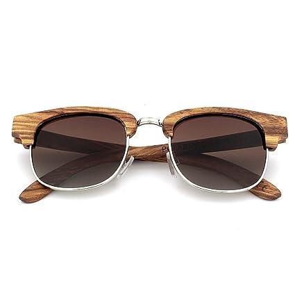 3c4bf9fc42 Aihifly Gafas de Sol polarizadas Personalidad Semi-sin Rebordear Gafas de  Sol de Madera Cebra