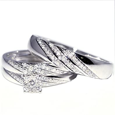 Amazon Com His And Her Trio Wedding Rings Set 1 3cttw 10k White