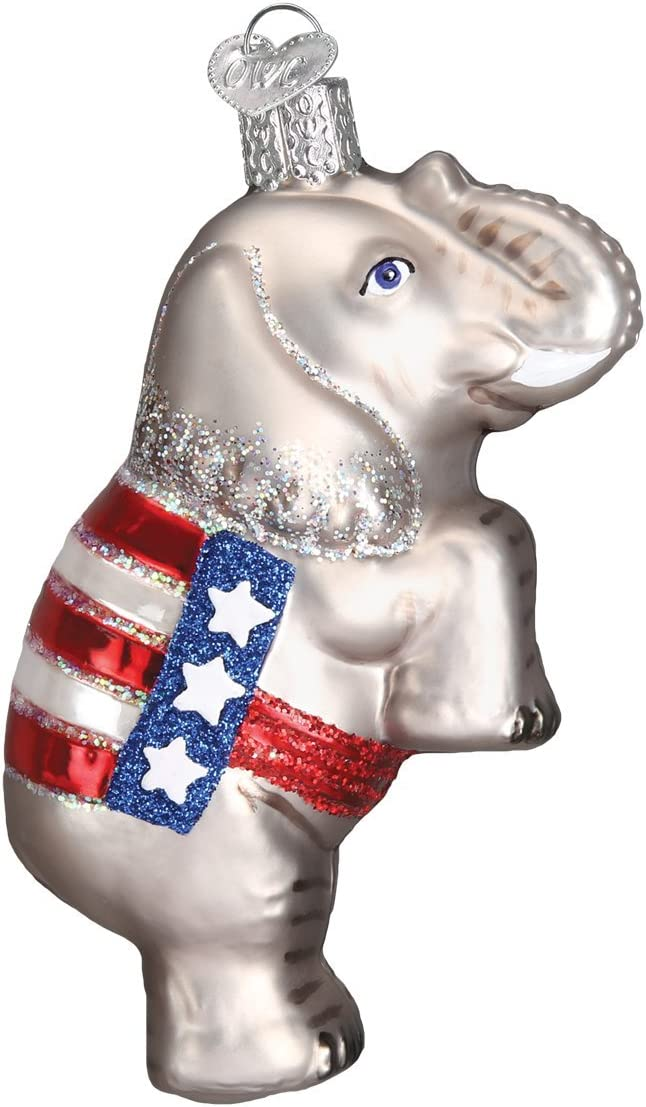 Old World Christmas Ornaments: Political Gifts Glass Blown Ornaments for Christmas Tree, Republican Elephant