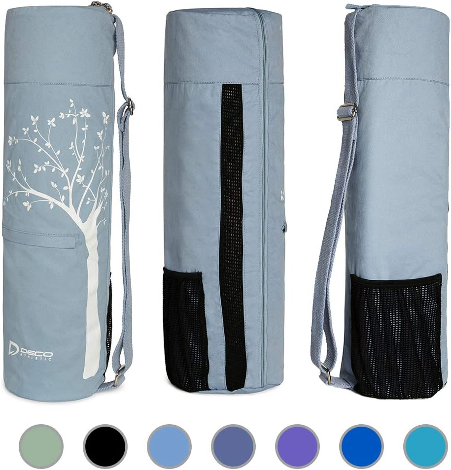 Deco Athletic Yoga Mat Bag Full Zip, Fits Up to 25in Mat, 2 Large Zip Pockets, Large Mesh Pocket- Room for Towel, Wallet, Keys, Water Bottle