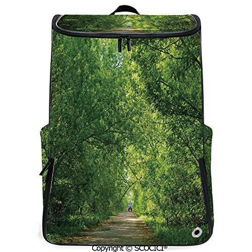SCOCICI Laptop Backpack,Fresh Forest Canopy Trees over Footpath in an Old Park People Walking Natural Scenery,Green,Customizable Multicolor for Men & Women Sport Daypack