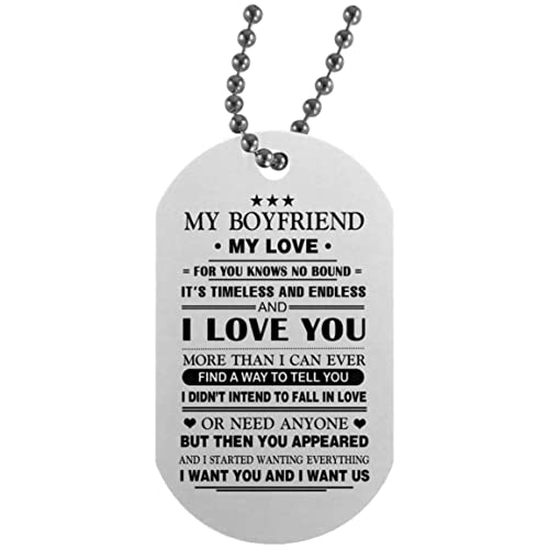 Amazon.com: AZ Gifts My Boyfriend My Love Dog Tag Necklace ...