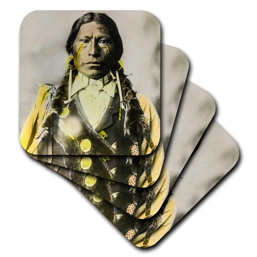 3drose Scenes from the Pastマジックランタンスライド – Vintage Native American Indian Chief Hand Colored – コースター set-of-8-Soft cst_269866_2 set-of-8-Soft  B077TH9QHH