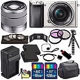Sony Alpha a6000 Mirrorless Digital Camera with 16-50mm Lens (Silver) + Sony SEL 1855 18-55mm Zoom Lens + 144GB Bundle 16 - International Version (No Warranty)