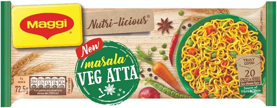 MAGGI NUTRI-LICIOUS Veg Atta, Masala Noodles � (Pack of 4) 290g Pouch
