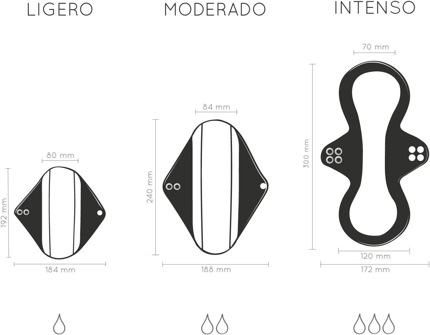 Compresas Reutilizables Ecológicas | Set de Compresas Lavables Para Mujeres | Pack de Salvaslip Reutilizable Para Todo Tipo de Flujos | Set de 5 ...