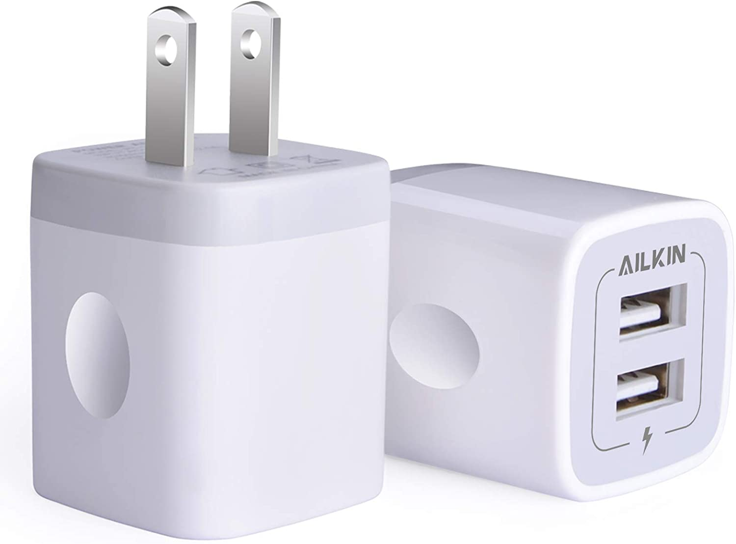Amazon Com Usb Wall Charger Charger Adapter Ailkin 2 Pack 2 1amp Dual Port Quick Charger Plug Cube For Iphone Se 11 Pro Max 8 7 6s 6s Plus 6 Plus 6 Samsung Galaxy S7 S6 S5 Edge Lg Htc Huawei Moto Kindle