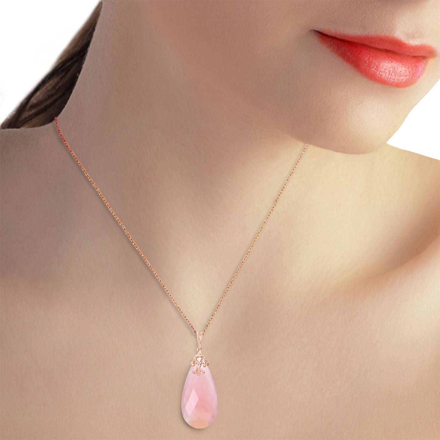 ALARRI 14K Solid Rose Gold Necklace with Briolette 31x16 mm Pink Chalcedony with 24 Inch Chain Length